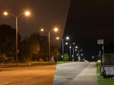 photo of new led street lights taken on carling ave looking east across the st2